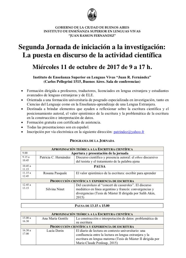 Jornada de Iniciación a la Investigación