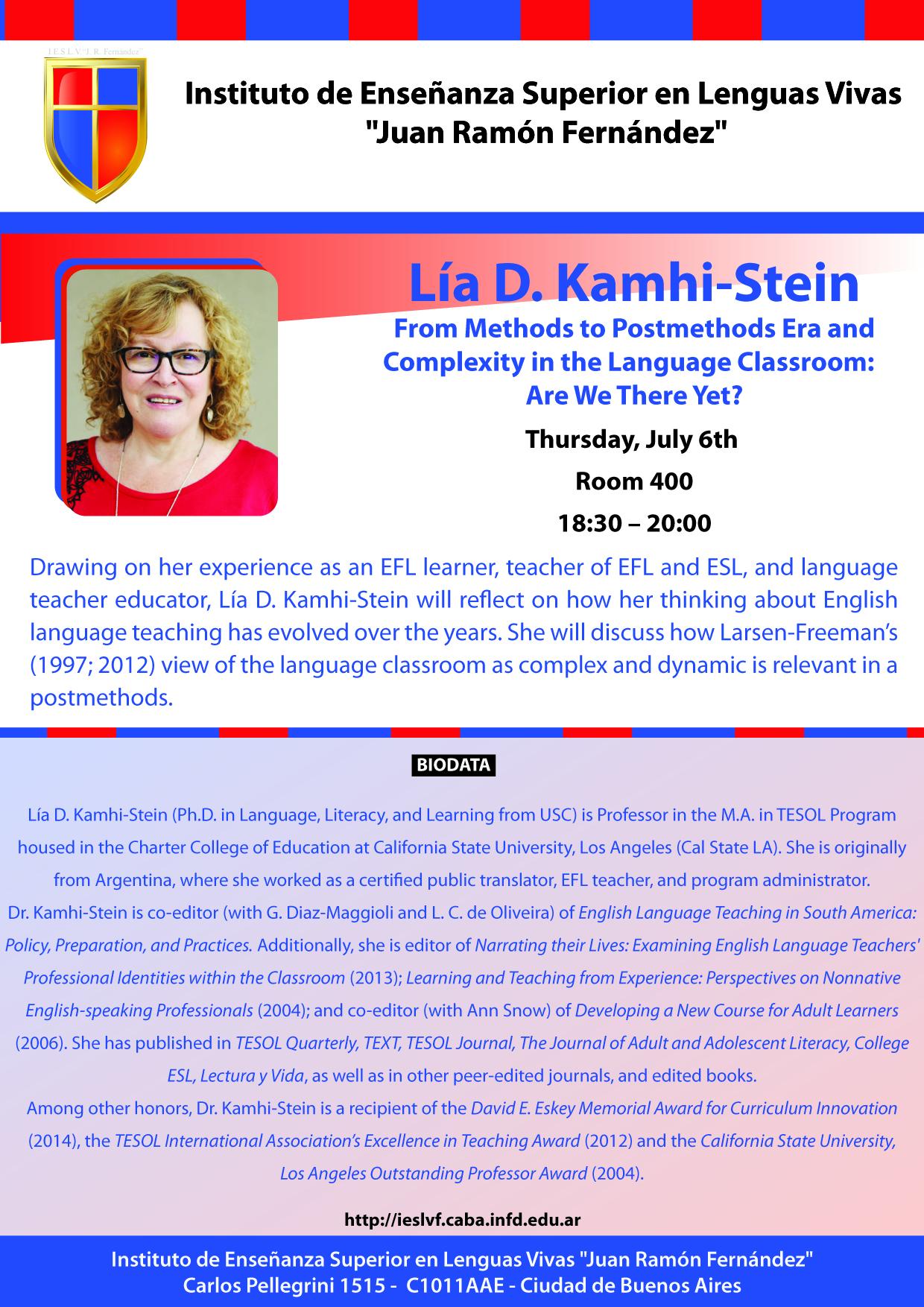 Lía D. Kamhi-Stein_July 6_18.30_20.00